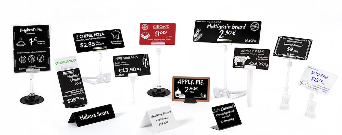 A collection of appealing price cards in different shapes, sizes and designs